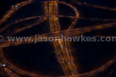 Night aerial view over M62 and M60 motorways