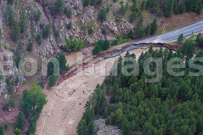Colorado flood: damage to roadway adjacent to Big Thompson River