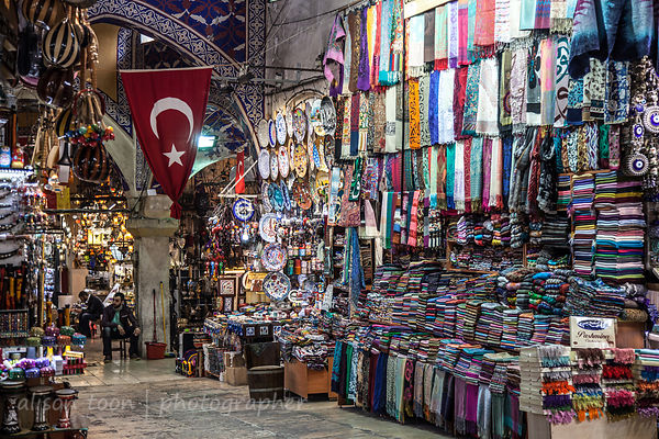 Flag and fabrics in the  Grand Bazaar