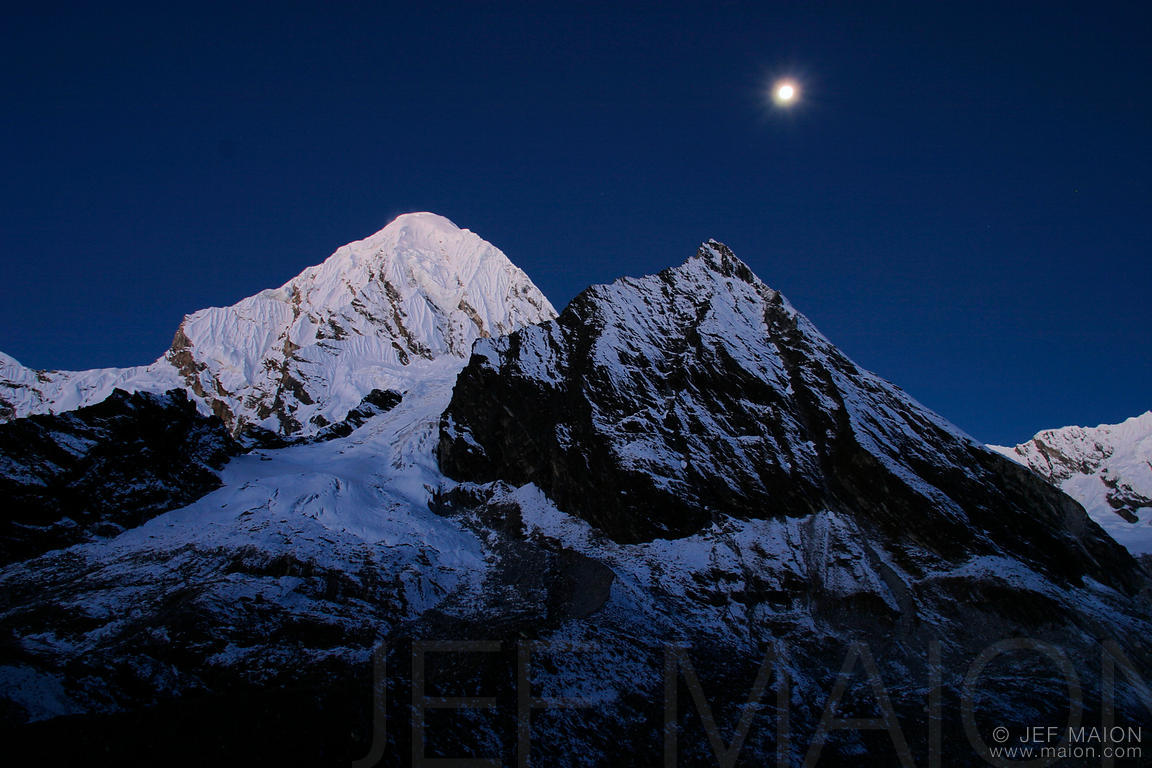 Serenity Blue Paint Image Moon Over Mountains Stock Photo By Jf Maion