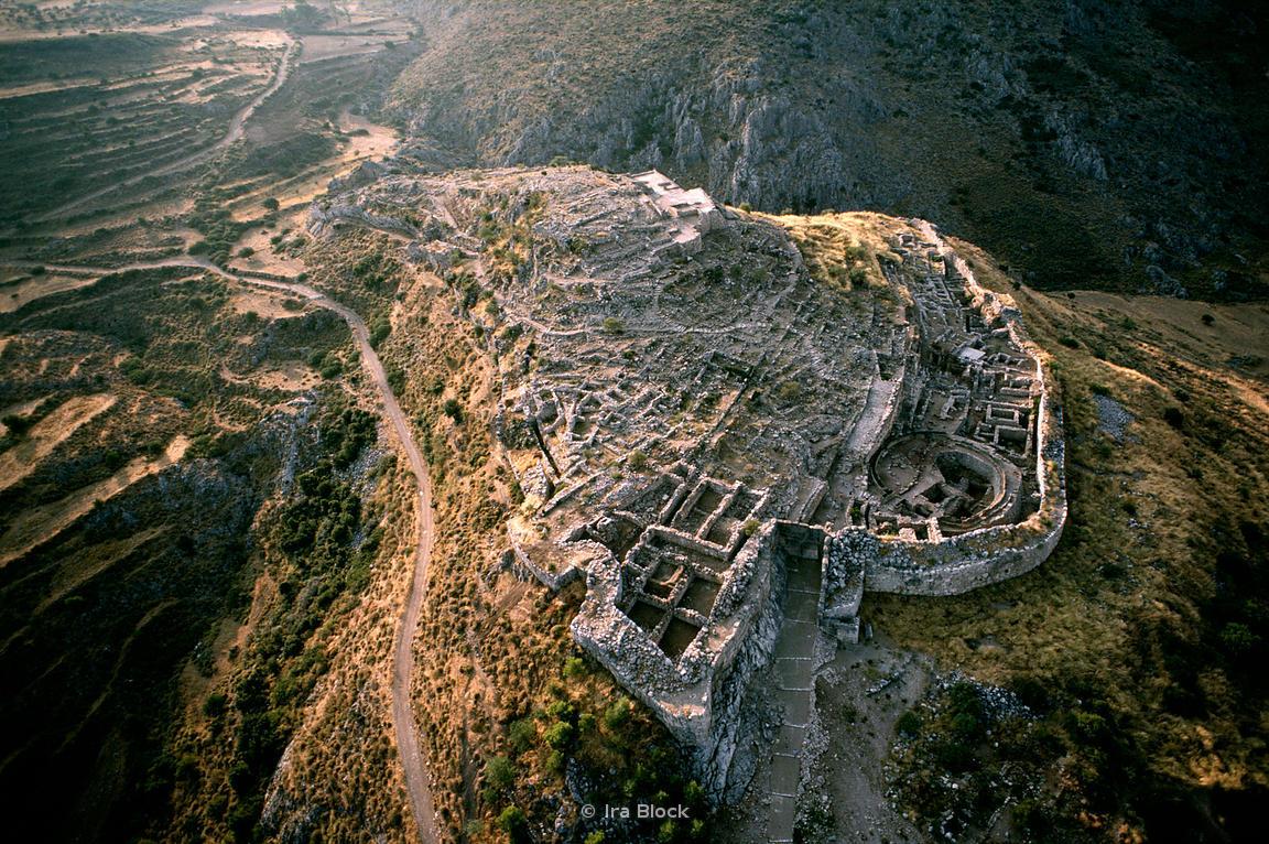 Aerial of Mycenae Ruins, Mycenae Greece
