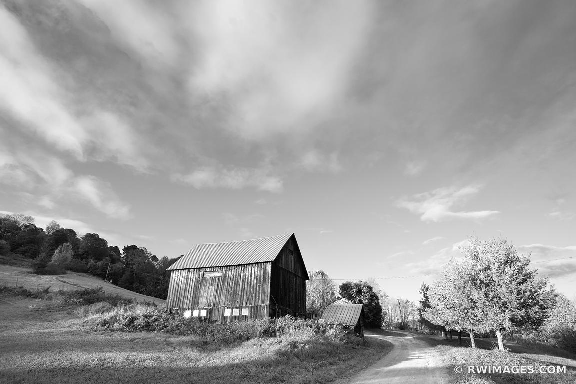 COUNTRY ROAD OLD BARN VERMONT SUNSET NEW ENGLAND BLACK AND WHITE