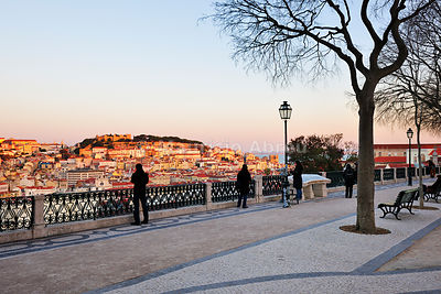 São Pedro de Alcântara belvedere, one of the best view points of the old city of Lisbon. Portugal
