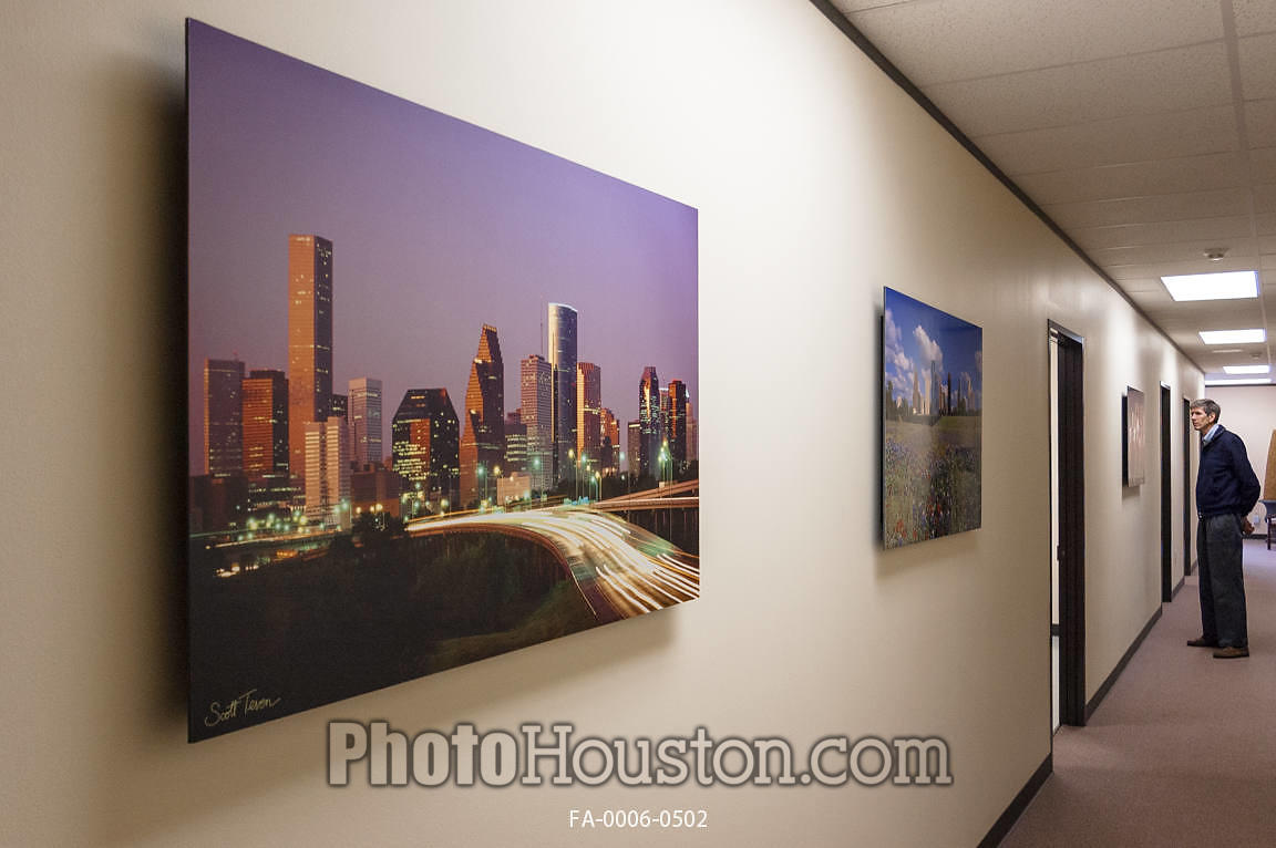 Photo Houston | Photos displayed as office art with float framing