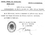 Statement by Francisco Franco ending Spanish Civil War